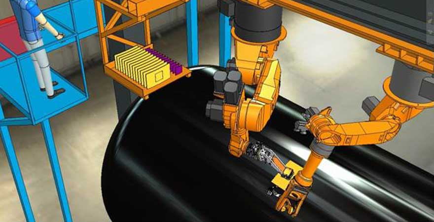 Robotic system to pick, place, tack and weld plates and accessories in the process of manufacturing tank car