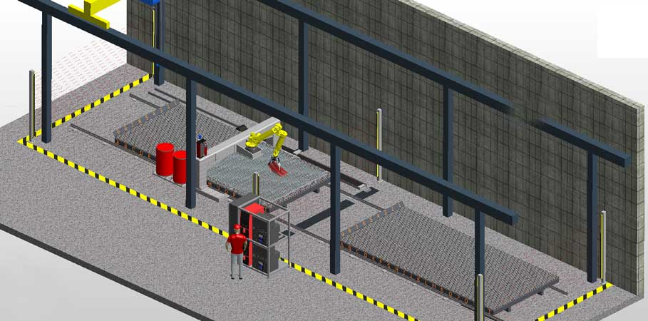 Robotic welding on gantry for hexmesh welding on metal panels